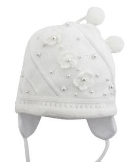 Wiązana czapka z perełkami 50/52 GBO-10 biel