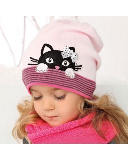 Ciepła czapka z kotem 50-52 AJS 34-363 dwa kolory