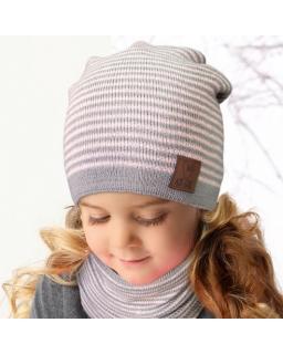 Zestaw dla dziewczynki czapka i tuba 50-52 AJS/34-562 szary plus róż