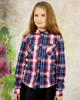 Modna dziewczęca koszula w kratke 134-164 Jenny