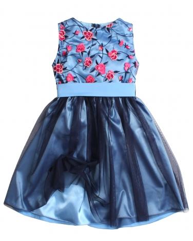 481a3638e2 Elegancka sukienka z szarfą 128-158 Alice niebieski