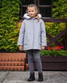 Wełniany płaszcz dla dziewczynki 128 - 158 Tilen szary