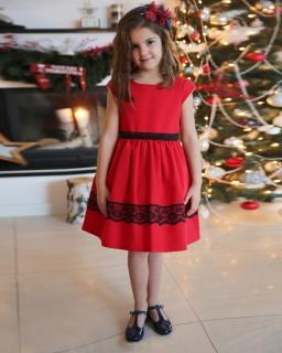 Elegancka sukienka na święta 62-152 Joanna czerwona