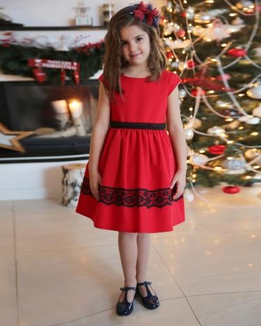 04b7a27e Elegancka sukienka na święta 62-152 Joanna czerwona