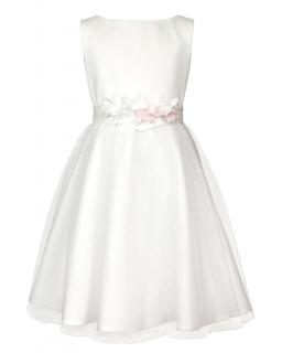 Stylowa sukienka dla dziewczynki 128-158 1B/SM/18 ecru