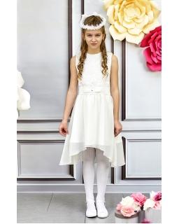 7d919abb2d Dziewczęca asymetryczna sukienka do komunii 140-164 Katia ecru