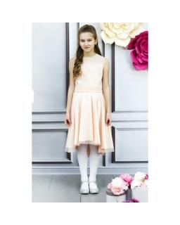 8ae63293ab Asymetryczna sukienka z koronką 146-164 Sandra brzoskwiniowa
