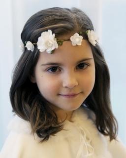 Dziewczęca opaska na gumce OW099 zielony plus biały