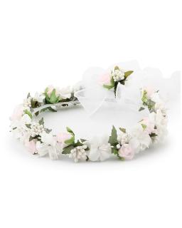 Wianek z domieszką różu bieli i zieleni W101