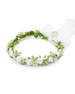 Wianek komunijny W01 biel plus zieleń