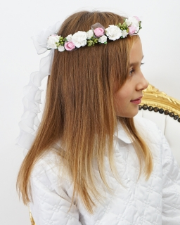 Wianek do Pierwszej Komunii Świętej W118 biel plus zieleń i róż