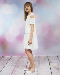 Sukienka z wycięciami na ramionach 134-158 Aga ecru
