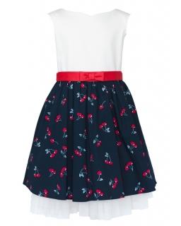 Bawełniana sukienka w wisienki 104-134 44b/SM/18 ecru