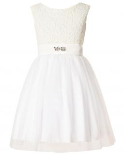 Rozkloszowana sukienka z koronką 134-164 Dalia ecru