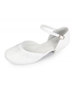 Dziewczęce buty komunijne na obcasie białe, Communion shoes for a girl