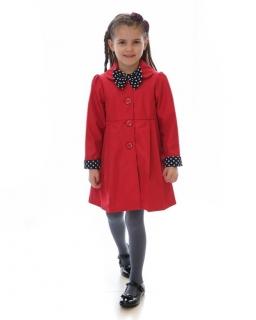 Płaszczyk z kokardką w grochy 86-134 Sally czerwień