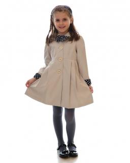 Elegancki płaszczyk dla dziewczynki 86-134 Sally beżowy