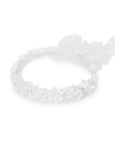 Dziewczęcy wianek komunijny w róże W10 biały