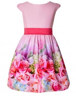 Kwiecista sukienka z szarfą 116-158 Iga multikolor