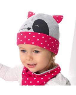 Komplet dziewczęcy czapka i chustka 48-50 AJS/36-026 Szara