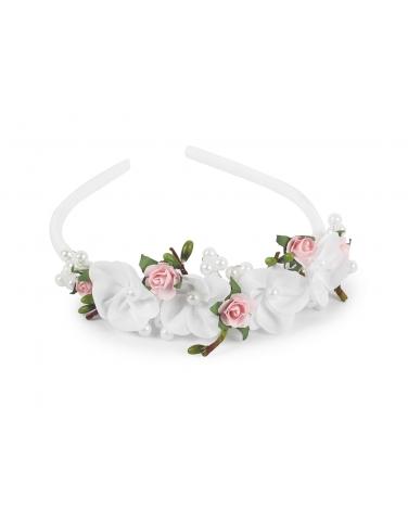 Elegancka opaska z perełkami i z kwiatuszkami OP19
