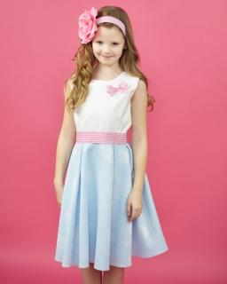 Sukienka z szarfą dla dziewczynki 104-134 Sabina błękitna