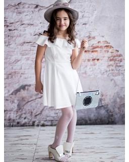 Elegancka sukienka hiszpanka 134-158 Liliana ecru
