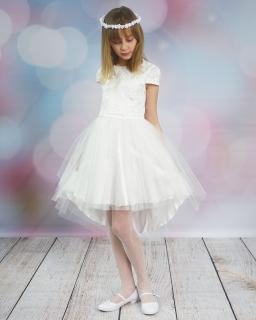 Okazjonalna sukienka z dłuższym tyłem 128-158 Cleo ecru