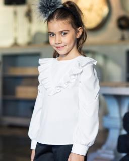 Bluzki dla dziewczynek białe Galowe Wizytowe girls' blouses webshop