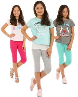 Klasyczne leginsy 3/4 dla dziewczynki 116-158 KRP37 Osiem kolorów