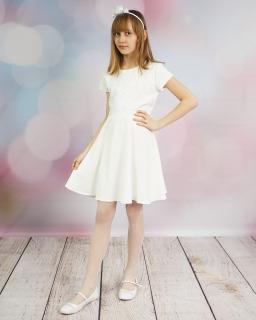 Sukienka z efektowną aplikacją 128-158 Krysia ecru