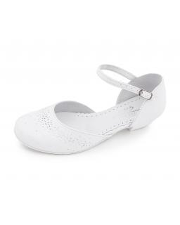 Buty komunijne dla dziewczynki, Białe tuciki na obcasie Communion shoes for girl, sklep online