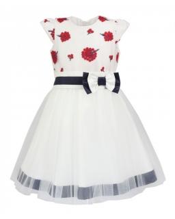 Sukienki dla dziewczynek na wesele tiulowe białe ekri ecru dresses for girls wedding, kommunion