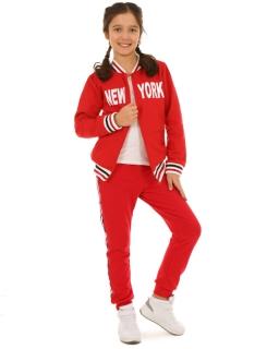 Spodnie dresowe z lampasem 116-158 KRP137 czerwone