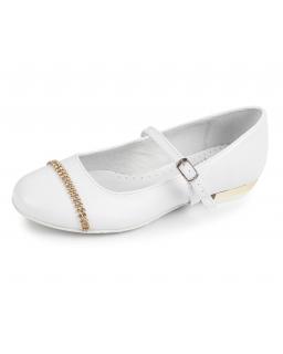 Buty ze złotymi dodatkami 32-38 BK43 białe