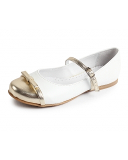 Eleganckie skórzane balerinki ze złotym noskiem 31-38 Zuza 2 biel/złoto