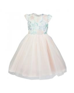 Sukienka z kwiatowym wzorem dla dziewczynki 104-134 Oktawia brzoskwiniowa