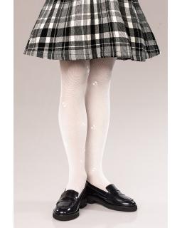 Rajstopy dla dziewczynki, białe, kokardki, tights for girl, white