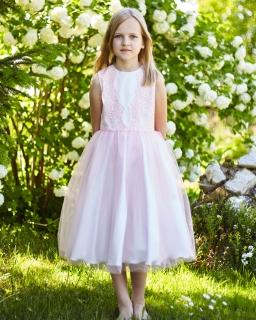 Tiulowa sukienka z koronkową górą 128-158 Celin brzoskwiniowa