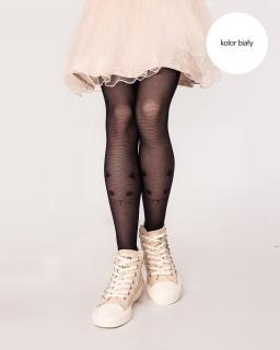 Rajstopy dla dziewczynki, białe, w kotki, tights for girl, white