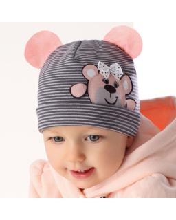 Dziewczęca czapka w paski, z misiem, hat for girl, sklep internetowy