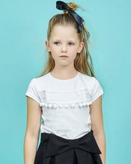 Biała bluzka dla dziewczynki 122-152 Bianka biel