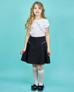 Klasyczna spódnica z odobnymi zameczkami 140-164 Zuza czarny