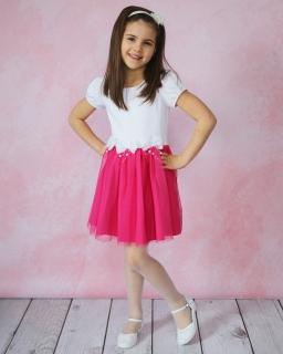 Sukienka z kokardkami 104-122 Alicja biało-różowa
