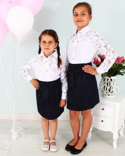 2731fcf3 Spódnica z kieszeniami dla dziewczynki 128-158 Wera granatowa