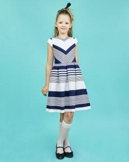 Rozkloszowana sukienka w pasy 128-152 Anita biało-granatowa