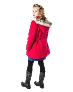 Ciepły płaszcz z kapturem 128-164 Angela czerwony