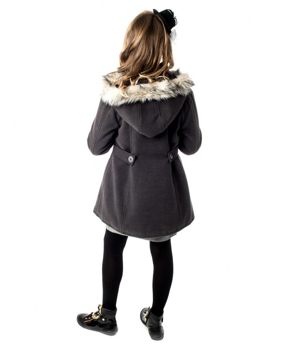płaszcz zimowy dla dziewczynki z flauszu