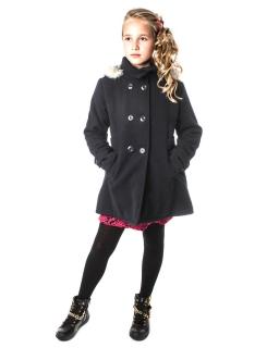 df50d71fef3002 Ciepły płaszcz dla dziewczynki na zimę 128 - 164 Angela szary