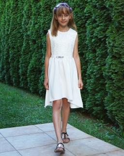 Letnia sukienka z dłuższym tyłem 146-164 Renata ecru